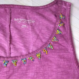 Soft Surroundings Cloudburst Pink Tank Beaded XL